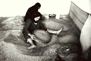 04 Ḥelwah & Ḥāḏrah Mūsā al-Muḥammad sieve and clean the grains